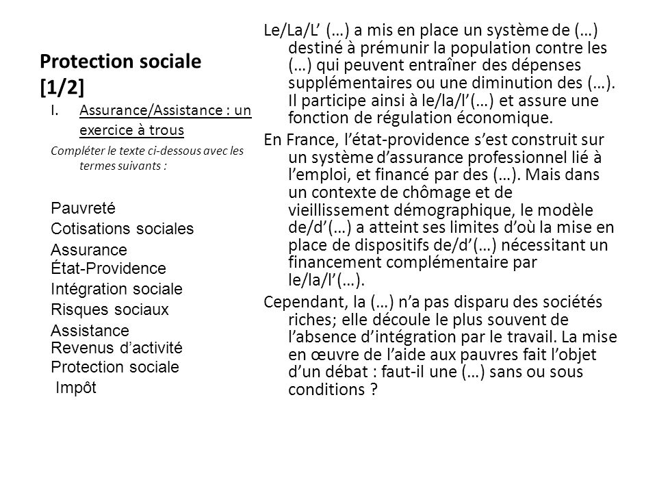 Protection sociale [1/2]